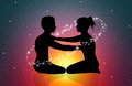 Cosmic energy illustration of couple silhouette with Royalty Free Stock Photos