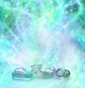 Cosmic healing crystals on a wispy swirling sparkling blue and green energy background Royalty Free Stock Photography