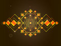 The cosmic mandala drawing of a gold in geometric style on a black background with play of colours Stock Images
