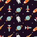 Cosmic pattern with spaceman, rocket, planet and comet