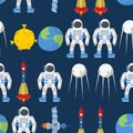 Cosmic seamless pattern. Earth and astronaut. Space rocket ship