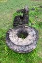 Cosmic vagina statue in wat phu champasak temple in laos Stock Photo