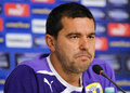 Cosmin contra of petrolul ploiesti press conference coach the romanian cup winner speaks during the before the romanian supercup Royalty Free Stock Photography