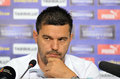 Cosmin contra of petrolul ploiesti press conference the manager pictured during held before the romanian cup final between Royalty Free Stock Image