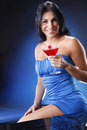 Cosmo girl on blue Royalty Free Stock Photo
