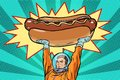 Cosmonaut and hot dog fast food Royalty Free Stock Photo