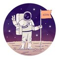 Cosmonaut placing flag on moon flat concept icon. Astronaut in space suit showing peace sign sticker, clipart. Alien Royalty Free Stock Photo
