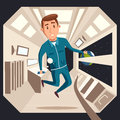 Cosmonaut in zero gravity. Vector cartoon illustration