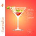 Cosmopolitan cocktail set of cocktails infographics illustration Royalty Free Stock Photography