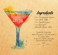 Cosmopolitan cocktails watercolor kraft Royalty Free Stock Photo