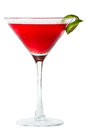 Cosmopolitan isolated on a white background garnished with a lime Stock Photos