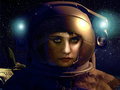 Cosmos beauty serious cute young woman into a space suit close to her spaceship Royalty Free Stock Photo