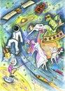 Cosmos drawing. Fantasy world. Dreamland Royalty Free Stock Photo