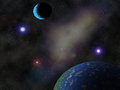 Cosmos and planets blue purple nebula on black space background Stock Images
