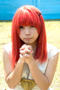Cosplay young girl japan may japanese dressed in costume at mamugame jou park contest may in kagawa japan Stock Image