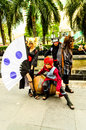 Cosplayer as characters gaara kankuro and temari from naruto bangkok may in oishi world cosplay fantastic on may at central world Stock Photos