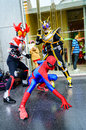 Cosplayer as characters kamen rider and spider man bangkok may in oishi world cosplay fantastic on may at central world bangkok Royalty Free Stock Image