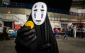 Cosplayer dressed as no face from spirited away sheffield uk june the character the studio ghibli film at the yorkshire cosplay Stock Photos