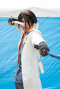 Cosplayer japan may japanese anime character cosplay pose in anime event in kagawa on may at mamugame jou park kagawa japan Stock Photography