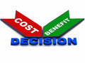 Cost benefits decision Stock Photography