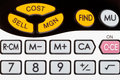 Cost, sell, margin keys of financial calculator Stock Image