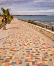 Costa blanca promenade spain multi coloured paved at mil palmeras on the alicante Royalty Free Stock Photography