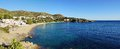 Costa brava beach panorama in the mediterranean town of canyelles petites catalonia spain Royalty Free Stock Photos