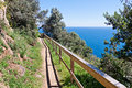 Costa brava pathway following the seashore Stock Photography