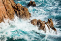 Costa Brava rough sea Royalty Free Stock Image