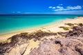 Costa Calma sandy beach with vulcanic mountains in the background, Jandia,  Fuerteventura island, Canary Islands, Spain. Royalty Free Stock Photo