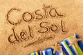 Costa del sol spain sand writing Stock Image
