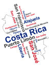 Costa rica map and cities words cloud with larger Stock Photo