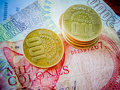 Costa rican colones close up of money both coin and paper Stock Photo