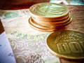 Costa rican colones close up of money both coin and paper Stock Photography