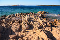 Costa smeralda sardinia rocks in the clear turquoise water of Stock Photos