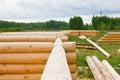 Costruzione della casa dai ceppi di legno Fotografia Stock Libera da Diritti