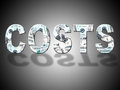 Costs dollars means united states and balance showing outlay Stock Images