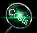 Costs magnifier represents magnification price and expenditure showing bills accounts Stock Photography