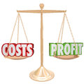 Costs vs profit gold balance weighing words and profits on a scale to illustrate the importance of balancing a budget and Royalty Free Stock Photos