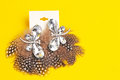 Costume jewelry earings furry feathery unusual with a yellow background Stock Image
