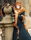 Costume made ​​of fur in venice woman a of posing Stock Photo