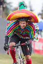 Costumed Bicycle Racer - Mexican Royalty Free Stock Photos