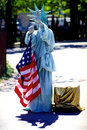 Costumed woman playing the statue of liberty usa new york april a unidentified in new york Stock Photos