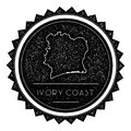 Cote D`Ivoire Map Label with Retro Vintage Styled.