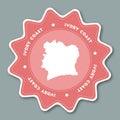Cote D`Ivoire map sticker in trendy colors.