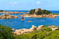 Cote de granite rose brittany coast near ploumanach france Stock Photography