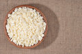 Cottage cheese in a bowl wooden Royalty Free Stock Photos