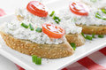 Cottage cheese bruschettas bruschetta sandwiches with and tomato Royalty Free Stock Photos