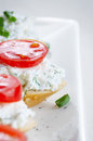 Cottage cheese bruschettas bruschetta sandwiches with and tomato Stock Photos