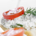 Cottage cheese bruschettas sandwiches with tomato and dill Royalty Free Stock Photo